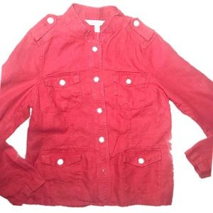 •Relativity• Sz Medium Linen Jacket in Red